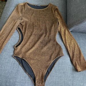 Bronze shimmer bodysuit with cutout sides